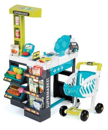 Detský obchod Supermarket Smoby elektronický s váhou, pokladňou, potravinami a 41 doplnkami tyrkysový