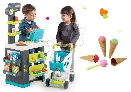 Supermarteturi pentru copii - Set magazin cu alimente Market Smoby şi îngheţate la cornet cadou