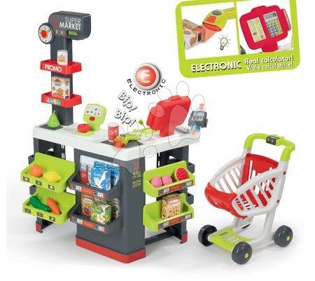 Supermarket cu cărucior de cumpărături Supermarket Smoby roşu cu casă de marcat electronică, cititor de cod de bare, cântar şi 42 de accesorii