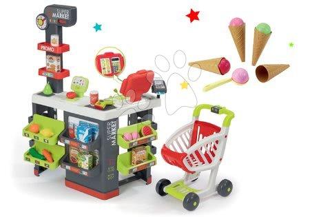 Hry na profesie - Set obchod s vozíkom Supermarket Smoby a zmrzlina s kornútkom