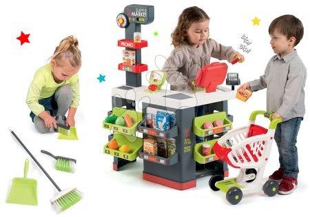Supermarteturi pentru copii - Set magazin Supermarket Smoby cu casă de marcat electronică şi cu set de curățenie