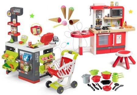 Szett üzlet Szupermarket Smoby elektronikus pénztárgéppel és játékkonyha Tefal evolutive Gourment edényekkel és fagylalttal