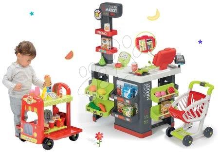 Set obchod s vozíkem Supermarket Smoby a zmrzlinářský vozík s hamburgery