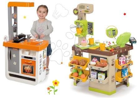 Hry na profesie - Set kaviareň s Espresso kávovarom Coffee House Smoby a kuchynka Bon Appétit Chef oranžová