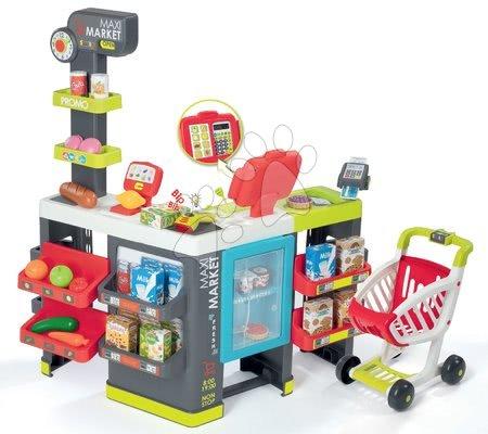 Trgovina mešano blago Maxi Market Smoby s hladilnikom, elektronsko blagajno in čitalnikom ter 50 dodatki