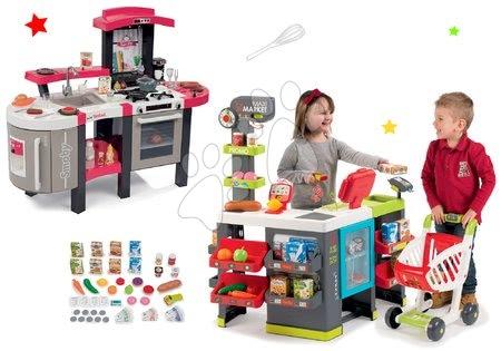 Set obchod zmiešaný tovar Maximarket Smoby a kuchynka Tefal Super Chef Deluxe zvuková a bublajúca