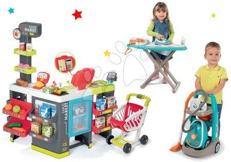 Hry na profesie - Set obchod zmiešaný tovar Maximarket Smoby a upratovací vozík s elektronickým vysávačom a žehliacou doskou