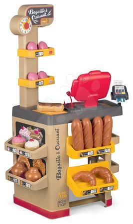 Supermarteturi pentru copii - Brutărie cu prăjituri Baguette&Croissant Bakery Smoby și casă de marcat electronică ceas și 26 de accesorii