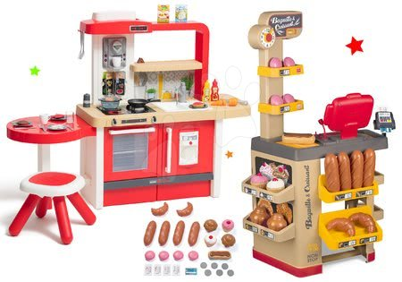 Szett pékség pékáruval Baguette&Croissant Bakery Smoby elektronikus pénztárgéppel és magasítható játékkonyha folyó vízzel Tefal Evolutive Grand Chef