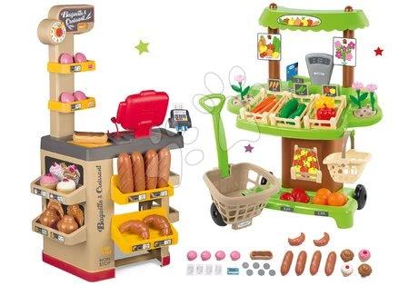 Hry na profesie - Set pekáreň s koláčmi Baguette&Croissant Bakery Smoby s elektronickou pokladňou a zeleninový Bio stánok s vozíkom Organic 100% Chef