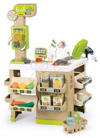 Supermarteturi pentru copii - Supermarket Fructe Legume Organic Fresh Market Smoby cu dozator de cereale și scaner electronic cu 43 de accesorii 70*60*90 cm SM350227