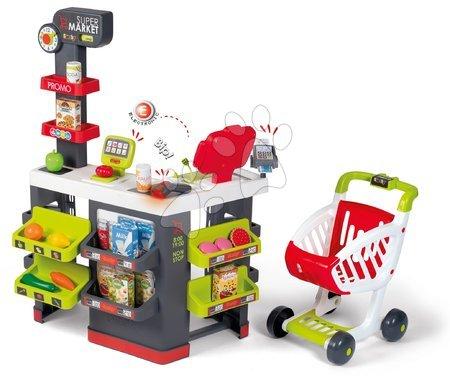 Supermarteturi pentru copii - Magazin cu cărucior și alimente Supermarket Smoby cu casă de marcat electronică și scaner, cântar cu 42 accesorii 70*60*90 cm SM350228