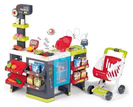 Supermarteturi pentru copii - Magazin cu diferite produse MaxiMarket Smoby cu casa de marcat electronică și scaner, frigider cu 50 de accesorii
