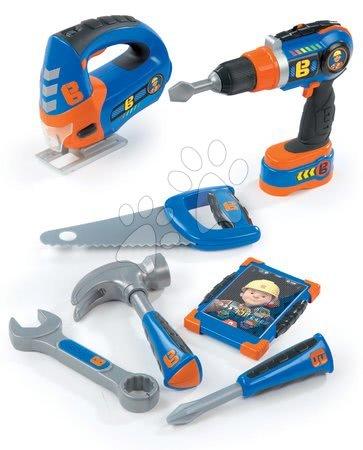 Oprema in orodje - Delovno orodje Mojster Miha Smoby z mehanskim vrtalnikom, žago, mobilnim telefonom in 4 orodja
