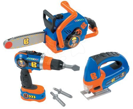 Oprema in orodje - Delovno orodje Bob the builder Smoby elektronsko, motorna žaga, vrtalnik in orodjem za oblanje