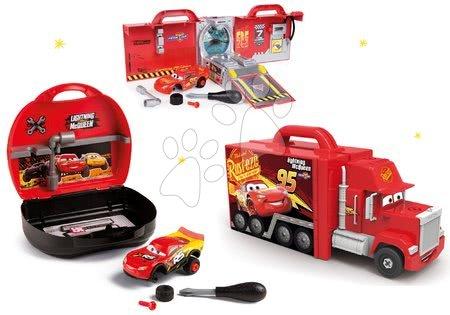 Cars - Set kamion s autíčkem Cars 3 Mack Truck Smoby elektronický a kufřík s nářadím a se skládacím autíčkem