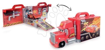 Autíčka a trenažéry - Kamion Cars Mack Truck Simulator Smoby se zvukem světlem a skládacím autíčkem