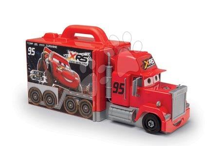 Pracovní dětská dílna - Kamion Mack Truck s autem Flash McQueen Cars XRS Smoby se zvukem světlem a závodním simulátorem_1