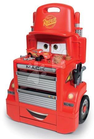 Cars - Set pracovní dílna vozík Cars Mack Truck Smoby s přihrádkami a pracovní dílna se skákající rampou_1