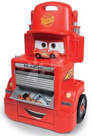 Pracovní dětská dílna - Pracovní dílna vozík Auta Mack Truck Smoby s přihrádkami a 28 doplňky červený