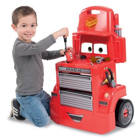 Pracovní dětská dílna - Pracovní dílna vozík Auta Mack Truck Smoby s přihrádkami a 28 doplňky červený_1