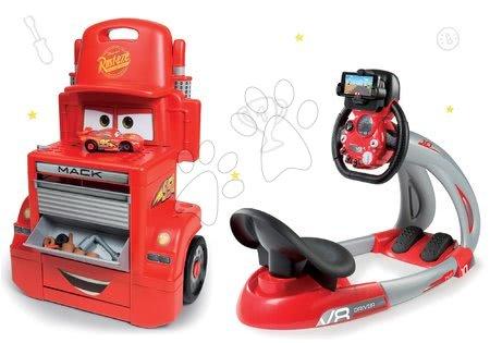 Cars - Set pracovní dílna vozík Cars Mack Truck Smoby s přihrádkami a trenažér V8 Driver elektronický