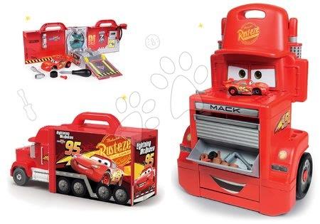 Cars - Set pracovní dílna vozík Cars Mack Truck Smoby s přihrádkami a kamion Mack Truck elektronický