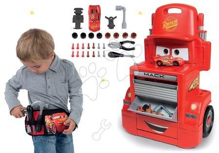 Akce - Set pracovní dílna vozík Cars Mack Truck Smoby s přihrádkami a opasek s nářadím a kapsičkou