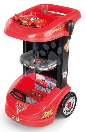 Cars - Set pracovní stůl na kolečkách Cars 3 Smoby a traktor na šlapání s přívěsem_1