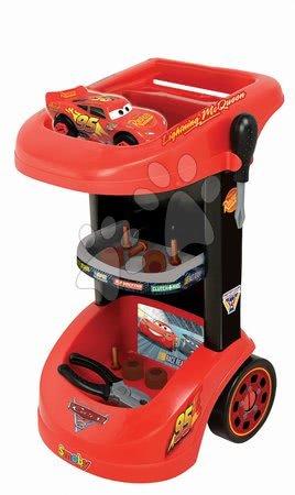 Pracovní dětská dílna - Pracovní stůl na kolečkách Auta 3 Smoby se skládacím autíčkem McQueen a 24 doplňků