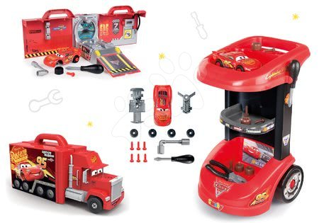 Cars - Set pracovní stůl na kolečkách Cars 3 Smoby a kamion Mack Truck elektronický
