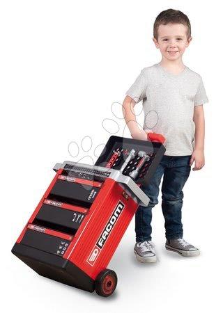Pracovní dětská dílna - Pracovní stolek Facom Workshop Cart Smoby na kolečkách s 31 doplňky