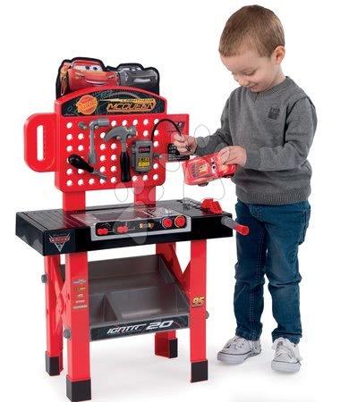 Pracovní dětská dílna - Pracovní dílna Auta 3 Smoby a skládací autíčko, otáčecí pracovní plochou, 21 doplňků_1