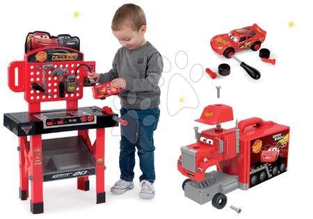 Cars - Set pracovní dílna se skládacím autíčkem Cars 3 Smoby a kamion Mack Truck elektronický