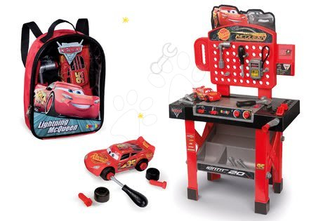 Akce - Set pracovní dílna se skládacím autíčkem Cars 3 Smoby a batoh s nářadím a autíčkem McQueen