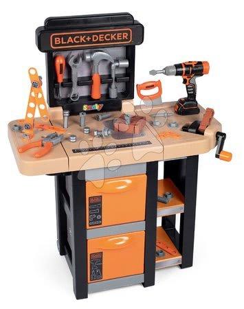 Pracovný stôl Black&Decker Open Bricolo Workbench Smoby skladací s 37 doplnkami