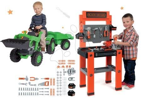 Set pracovní dílna se 79 doplňky Black+Decker Smoby a traktor na šlapání Jim Loader s nakladačem a přívěsem