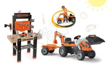 Set pracovní dílna Black+Decker s vrtačkou Smoby a traktor Power Builder Max s přívěsem, bagr
