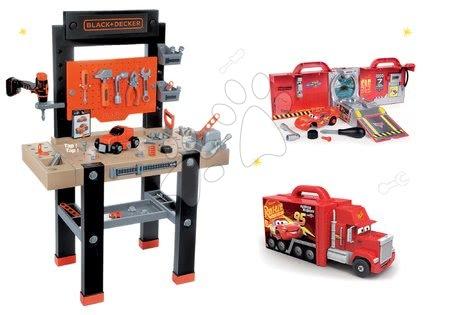 Black & Decker - Set pracovní dílna Black+Decker s vrtačkou Smoby a elektronický kamion Auta Ice s autíčkem McQueen