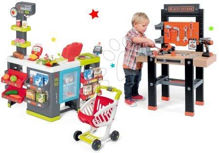 Black & Decker - Set pracovní dílna Black+Decker Smoby a obchod Maxi Market s elektronickou pokladnou a chladničkou