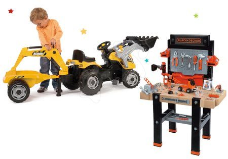 Set pracovní dílna Black&Decker elektronická Smoby a traktor Builder Max s bagrem a nakladačem