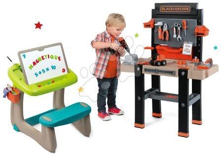 Black & Decker - Set pracovní dílna Black+Decker Smoby lavice na kreslení a magnetky Little Pupils