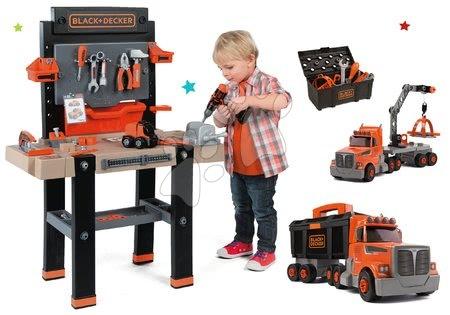 Detská elektronická pracovná dielňa Black+Decker s 95 doplnkami Smoby a kamión s pracovným kufríkom a náradím