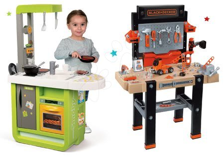 Black & Decker - Set pracovní dílna Black&Decker Smoby elektronická a kuchyňka Cherry se zvuky a kávovarem