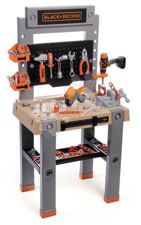 Pracovní dětská dílna - Pracovní dílna s mechanickou vrtačkou Black&Decker Smoby se svěrákem a skládací motorkou a 82 doplňků 103 cm výška