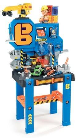 Bancă de lucru Bricolo Center Bob the Builder Smoby cu macara şi cu cilindru compactor, 92 de accesorii