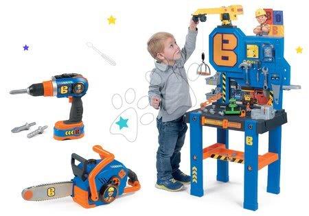 Set bancă de lucru Bricolo Center Bob the Builder Smoby cu macara şi maşină electronică de găurit cu drujbă
