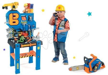 Komplet delovna miza Bricolo Center Bob the Builder Smoby z žerjavom, motorna žaga in delovna oblačila