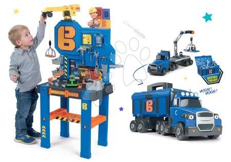 Komplet delovna miza Bricolo Center Bob the Builder Smoby z žerjavom in tovornjak Two Tons Truck z žerjavom in 60 dodatki
