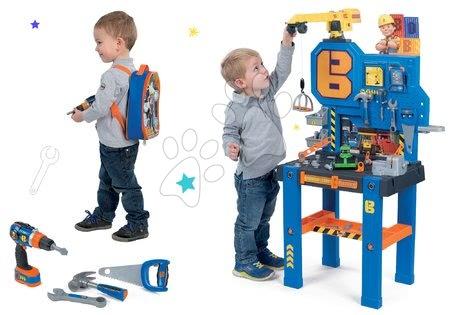 Set bancă de lucru Bricolo Center Bob the Builder Smoby cu macara şi rucsac cu maşină de găurit